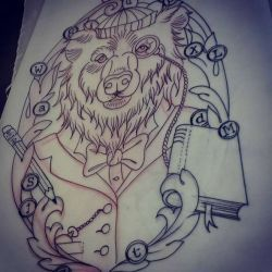 медведь фото, эскиз