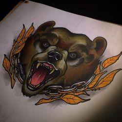 Татуировка медведь эскиз