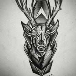 Татуировка олень фото, эскиз