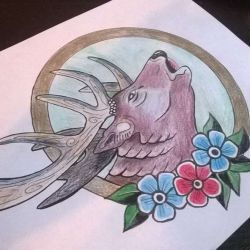 фото, эскиз татуировка олень