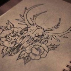 Татуировка олень эскиз