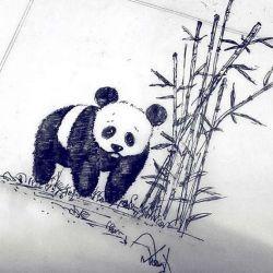 татуировка панда фото, эскиз