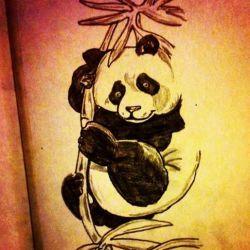 фото, эскиз татуировка панда