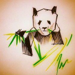 эскиз тату панда