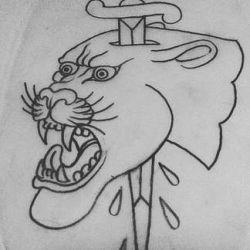 фото, эскиз тату пантера