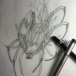 эскиз татуировка паук