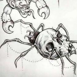 эскиз паук