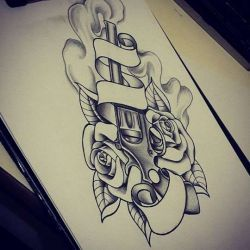 Татуировка пистолет фото, эскиз