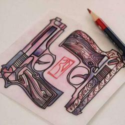 Тату пистолет эскиз