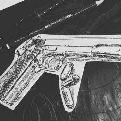 Тату пистолет фото, эскиз