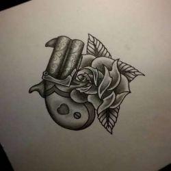 фото, эскиз татуировка пистолет