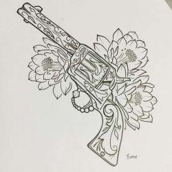 эскиз тату пистолет