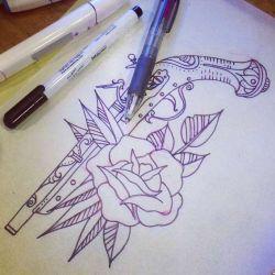 Татуировка пистолет эскиз