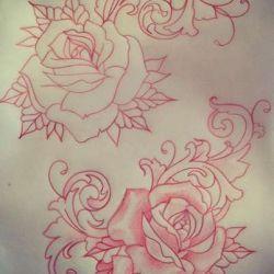 татуировка роза фото, эскиз