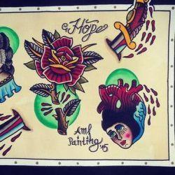эскиз татуировка роза