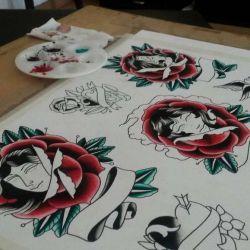 фото, эскиз роза