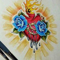 сердце фото, эскиз