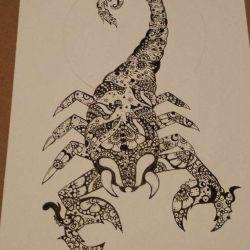 фото, эскиз татуировка скорпион
