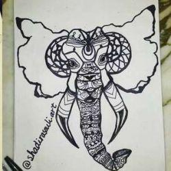 Татуировка слон фото, эскиз
