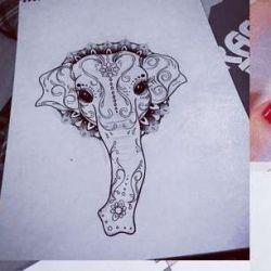 тату слон фото, эскиз
