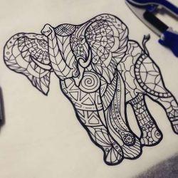 Тату слон эскиз