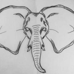 фото, эскиз татуировка слон