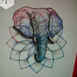фото, эскиз тату слон