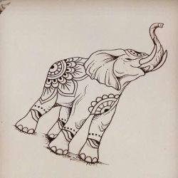 Татуировка слон эскиз