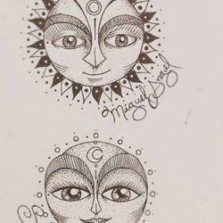 татуировка солнце эскиз