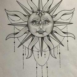 солнце фото, эскиз