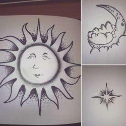 фото, эскиз тату солнце