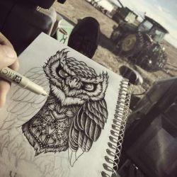 Татуировка сова эскиз