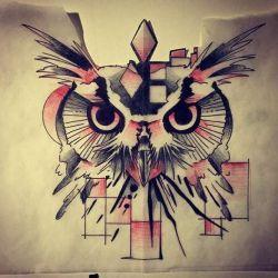 эскиз татуировка сова
