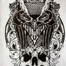 фото, эскиз татуировка сова