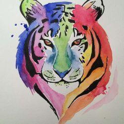 эскиз татуировка тигр