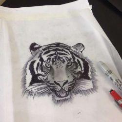 фото, эскиз татуировка тигр