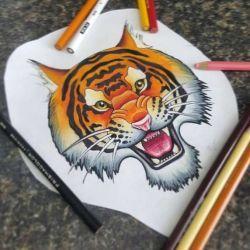 фото, эскиз тигр