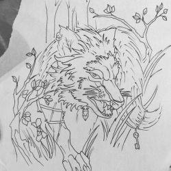 Тату волк эскиз