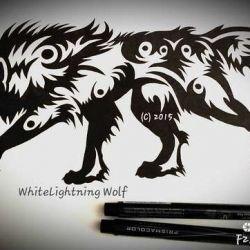 эскиз татуировка волк
