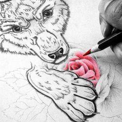 фото, эскиз тату волк