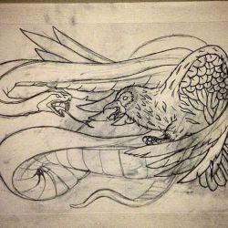 татуировка ворон фото, эскиз