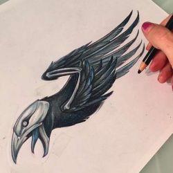 фото, эскиз татуировка ворон