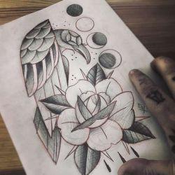 Татуировка ворон эскиз