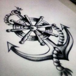 татуировка якорь эскиз
