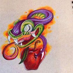 Эскиз тату змеи