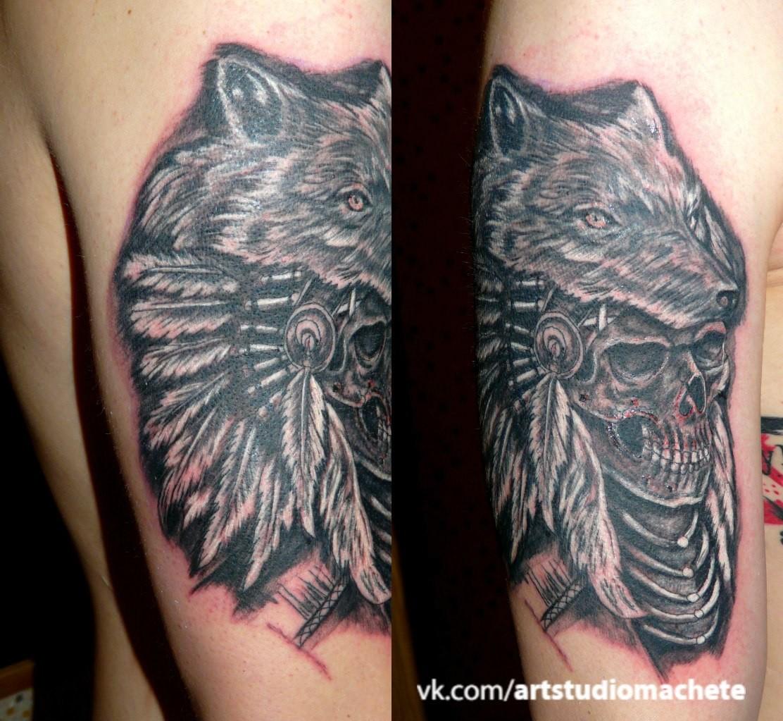 Волк с черепом тату фото