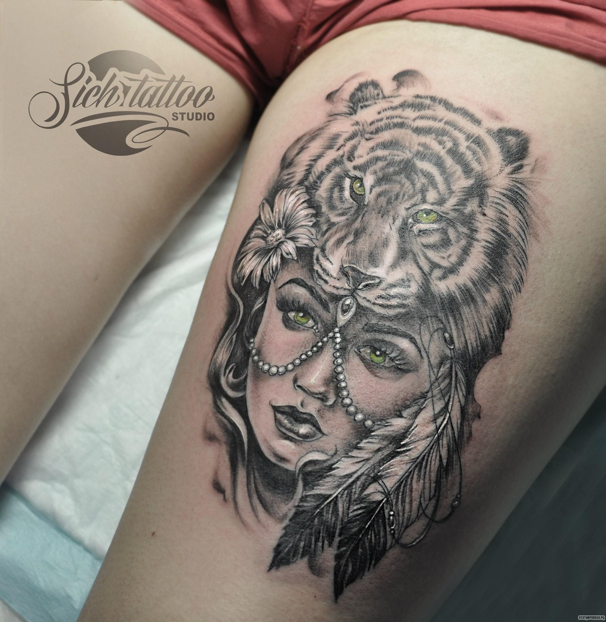Девушка с животными на голове