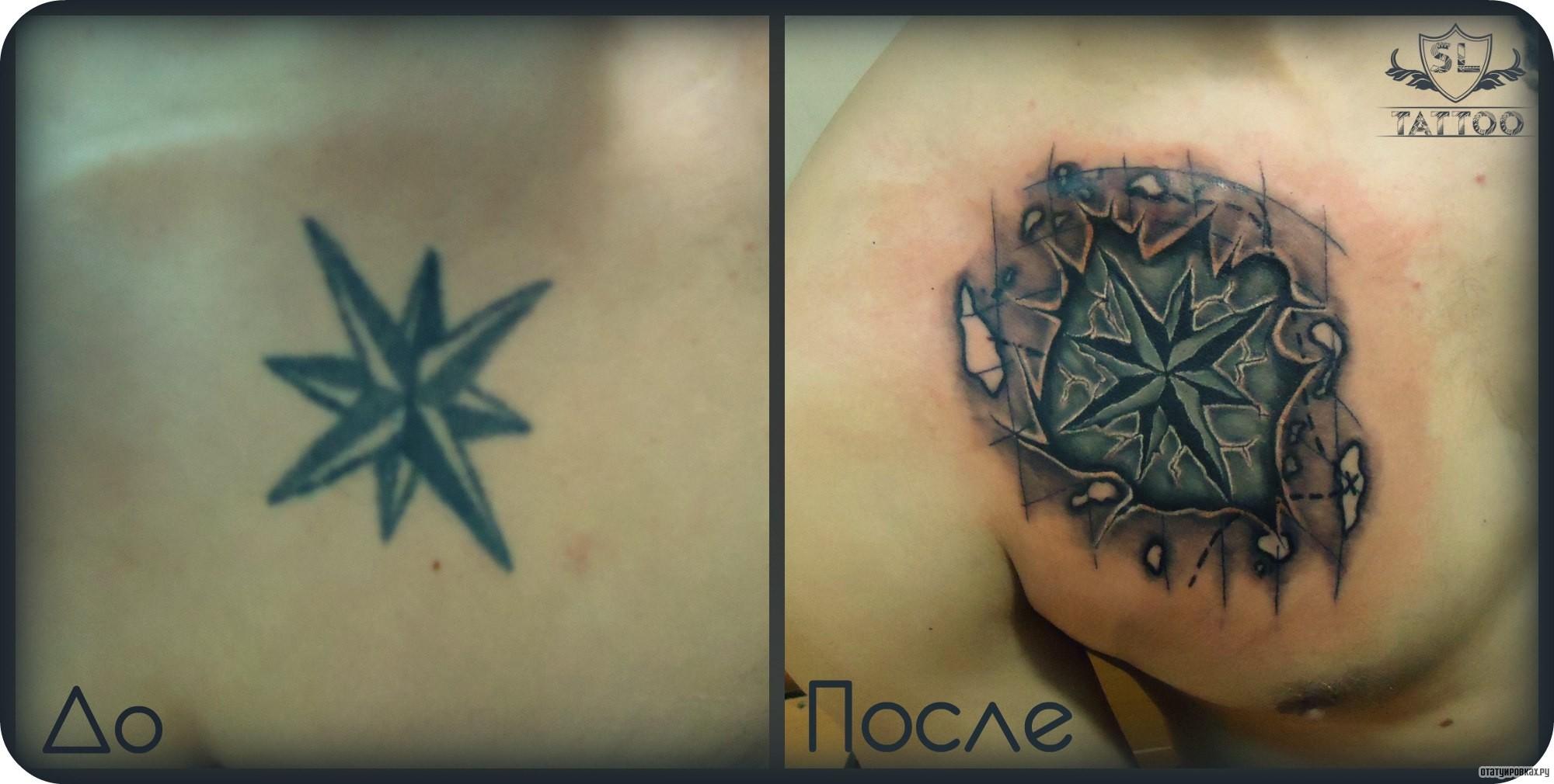 Татуировка роза ветров фото 5