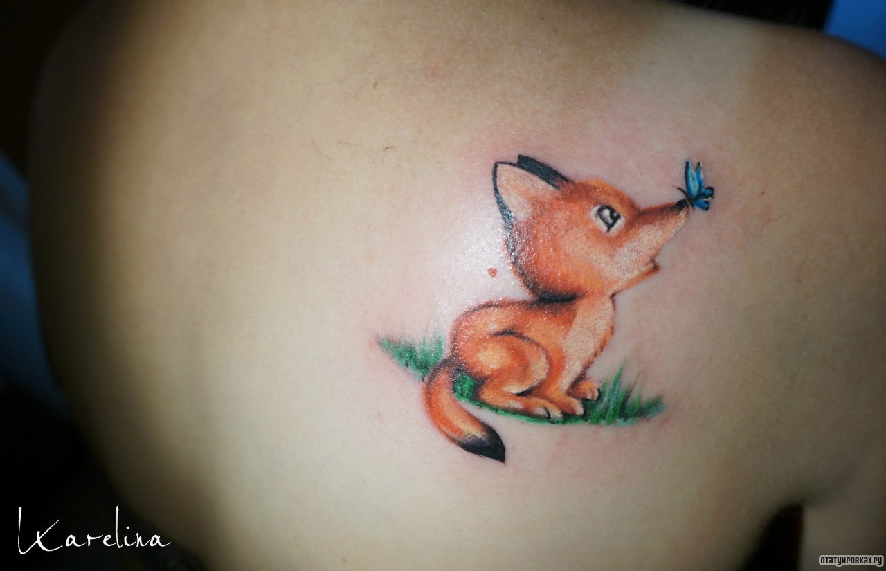 Маленькие тату лисы фото