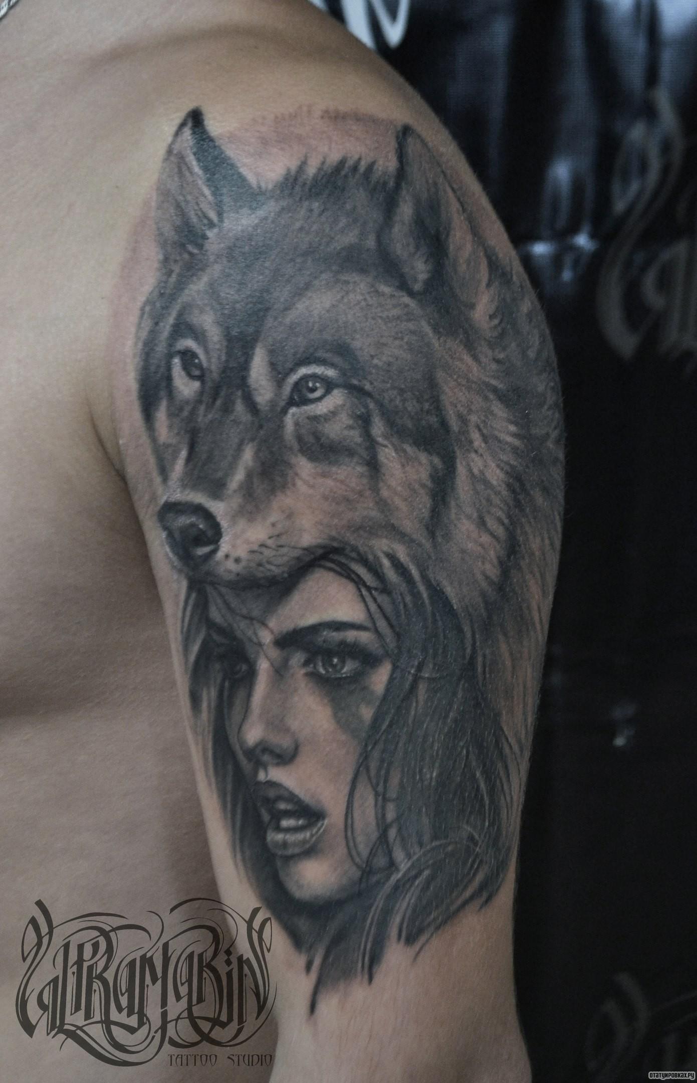 Тату волчицы у девушек фото